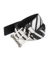Versace Men's Black and White Allover Print Saffiano Leather Belt Size 110/40
