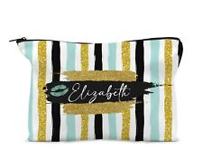 Personalised Make Up Bag Travel bag Mint Gold Stripe 13th 16th 18th 21st Gift