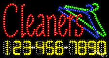 """New """"Cleaners"""" 32x17 w/Your Phone Number Solid/Animated Led Sign 25058"""