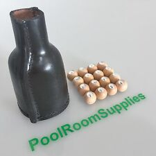 BLACK Pool Snooker Billiard Kelly Pool LEATHER SHAKER BOTTLE & WOODEN MARBLES