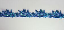 "Handmade Floral Corded bead Edging Motif trim 1 3/8"" width Colour: Royal Blue #3"