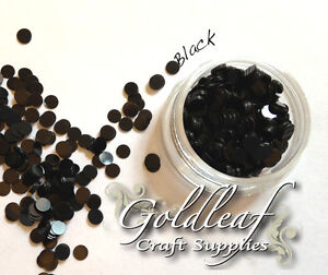 Nail Art Glitter Studs sequin discs dots 3mm - Black