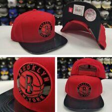 Exclusive Mitchel &l Ness Red / Metallic Black  Brooklyn Nets snapback Hat Cap