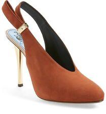 NIB $1,190+ LANVIN Suede Slingback Pump Brown Suede Leather Heel Shoe 6.5 - 36.5