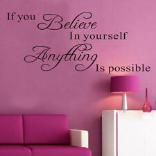 Inspirational Wall Sticker Believe Anything is Possible Decals DIY Home Decor US