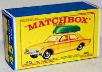 Matchbox Lesney No 45  FORD CORSAIR WITH GREEN BOAT empty Repro E style Box