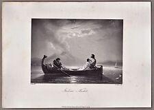 Italien, A.H. Payne - Vesuv, Neapel - Rendevouz.a.d. Meer - Stahlstich 1846