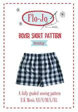 SEWING PATTERN FLO-JO MENS BOXER SHORT SEWING PATTERN BOBBY UK MEN'S XS - XL