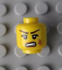 Lego Female Yellow Minifigure HEAD -ANGRY FACE & SCAR -NEW!