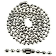 "Ball Chain Necklace Beads Silver Plated Stainless Steel 3MM Balls Dog Tag 27"" In"