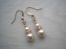 Pearl Diamante Drop Earrings Bridal Bridesmaids Wedding Silver Rose Gold 57WBSW