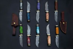 "10 pieces Damascus steel skinning knives lot with Sheath, Over 80"" knives"