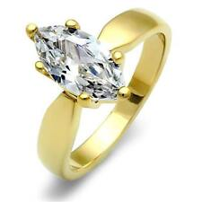 Marquise gold ring solitaire 2 carat simulated diamonds ladies steel 18kt 1673