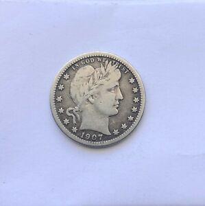 1907-O New Orleans Mint Silver Barber Quarter USA
