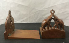 Wooden Elephant Folding Book Ends From Thailand Set of 2 - Great!