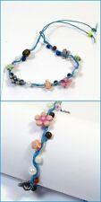 Glöckchenarmband Armbändchen bracelet Kinder Damen Blau Bunt Perlen verstellbar