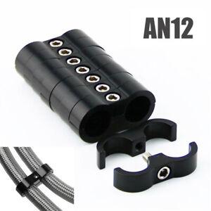 8PCS Black AN12 24MM Braided Hose Tube Clamp Separator Fittings Bracket Holder
