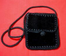 Vintage Black Velvet Evening Bag with Crochet Details Made in italy 1950s
