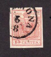 Austria stamps,Lombardy-Venetia #4, used, type 1, 1850, VVF, SCV  $25.00