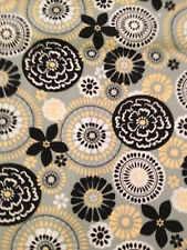 Gray Black Yellow White Circle Floral Medallion Curtain Valance Window Cotton