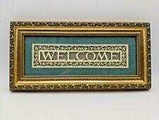 Cindy Jacobs Ltd. Welcome Framed Art Work 2010M Axtell Nebraska Handmade 12 x 6