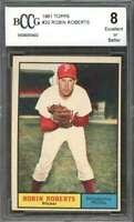 Robin Roberts Card 1961 Topps #20 Philadelphia Phillies BGS BCCG 8
