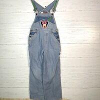 Vintage Minnie Mouse Denim Bib Overalls Blue Railroad Striped Girls Size 10