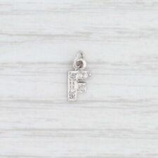 "Diamond Initial ""F"" Charm 14k White Gold Letter Pendant"