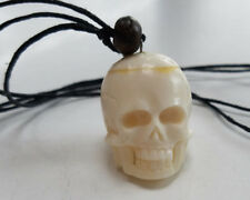 Adjustable Rope Necklace Bead New Carved Skull Bone Style Pendant