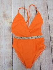 7b277fd86d Boohoo Women's Neon Snake Belted Swimsuit US 4 Orange New