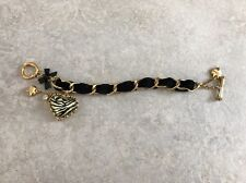 Authentic Betsey Johnson Velvet Bracelet Zebra Heart Toggle