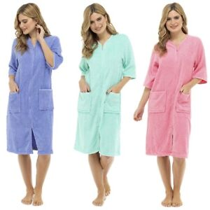 Ladies / Womens Cotton Terry Zip Front Dressing Gown  Bathrobe  Housecoat  Robe