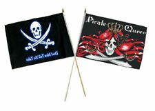 "12x18 12""x18"" Wholesale Combo Pirate Dead Men Tale & Queen Pirate Stick Flag"
