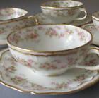 4 Antique HAVILAND Porcelain Cups Saucers PINK ROSES Double GOLD * Schleiger 844