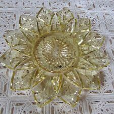 Vintage Amber 12 Petal Federal Glass Yellow Gold Dessert Bread Plate Saucer