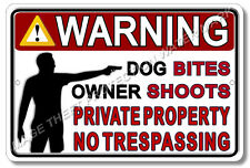 Warning Private Property Owner Shoots Gun Pistol Security Sign Home Business New