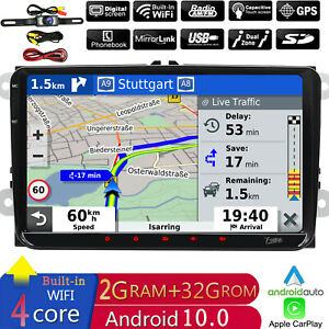 """Carplay In-dash Android 10 WIFI 9"""" Double DIN Car Radio GPS Stereo Player+CAMERA"""