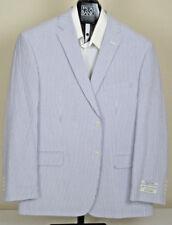$398 New Jos A Bank Executive Seersucker Blue Stripe 2 button suit 38 L 32 W