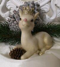 Reh Bambi Krone Deko Figur Weihnachten Christmas Shabby Vintage Landhaus 13cm