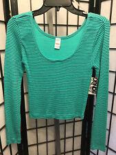 Women's Juniors Bongo Long Sleeve Green Striped Thermal Ribbed Shirt M NWT's