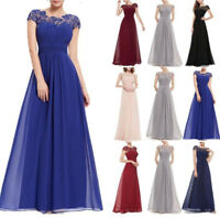 Women's Long Chiffon Lace Dresses Evening Party Ball Gown Prom Bridesmaid Dress