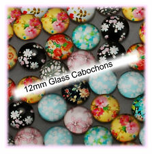 Glass Cabochons for Earring Studs  12mm 34 pieces in Pairs