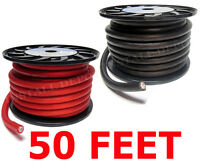 50 FT - PREMIUM 0 GAUGE RED & BLACK POWER + GROUND WIRE CABLE 1/0 AWG CAR AUDIO