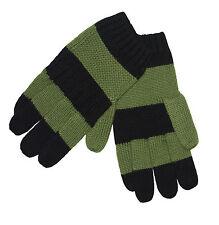 HUNTER Women's Stripe Merino Wool Winter Gloves in Pea Green/Black Size S/M NWT