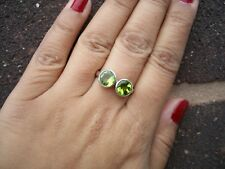 Modern Simple Design 925 Sterling Silver Natural Peridot Ring