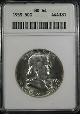 """1959 Franklin Half Dollar """"ANACS MS64"""" *Free S/H After 1st Item*"""