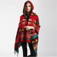 HOTBoho Women's Aztec Shawl Hoodie Tassels Cape Knitted Hooded Coat Poncho Scarf