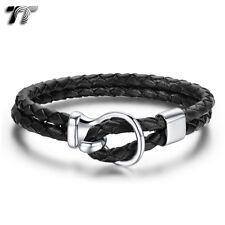 TT Genuine Black Leather 316L Stainless Steel Bracelet Wristband (BR205) NEW