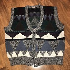 Vtg 80s 90s IMPACT colorblock FRESH PRINCE cosby Sweater VEST Hipster Mens LARGE