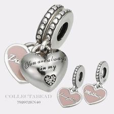 Authentic Pandora Silver Mother & Daughter Pink Enamel CZ Drop Charm 792072EN40